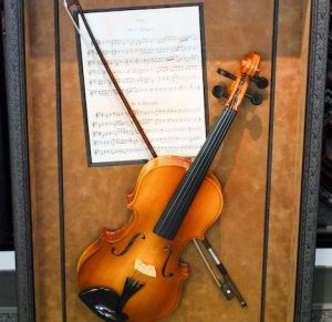 Violin and sheet music set in custom picture frame