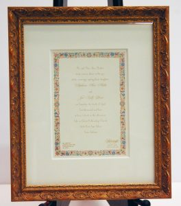 Wedding invitation in custom frame