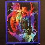 Jimi Hendrix in purple picture frame