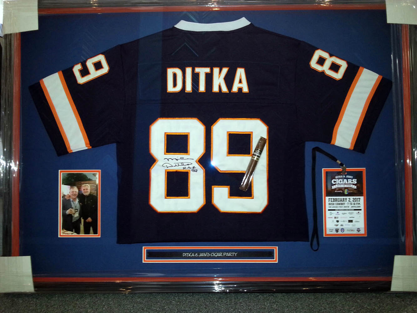 Sports jersey from mike ditka's superbowl cigar party