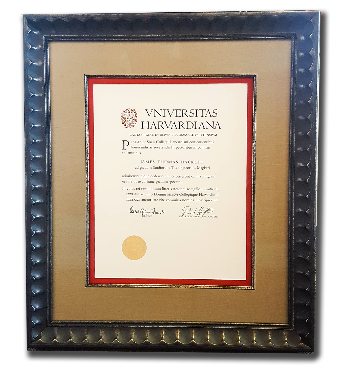 Harvard Diploma with silk matte in Larson-Juhl frame