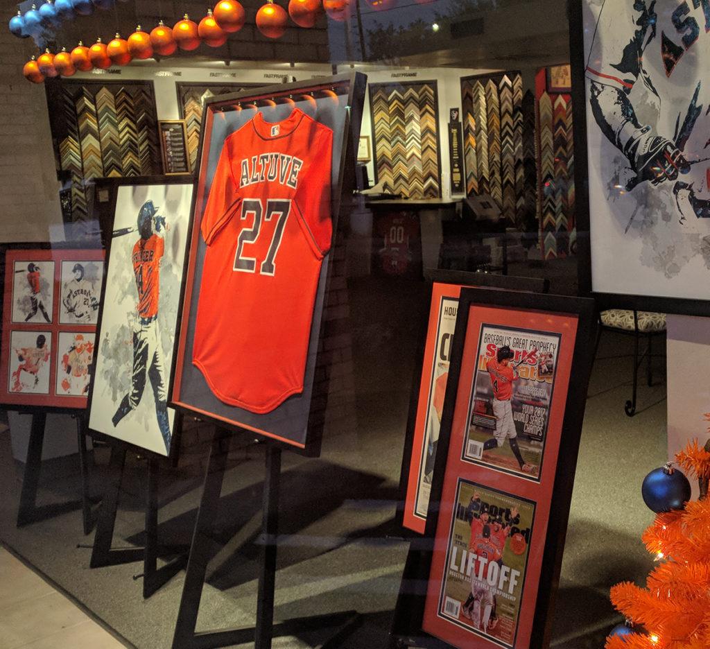 Custom framed Astros sports memorabilia