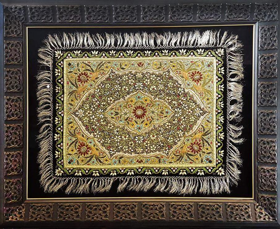 Rug - beaded and custom framed